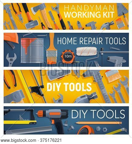 Construction And Diy Tools, Vector Banners. Painting Roller Brush, Adjustable Wrench And Pliers, Tro