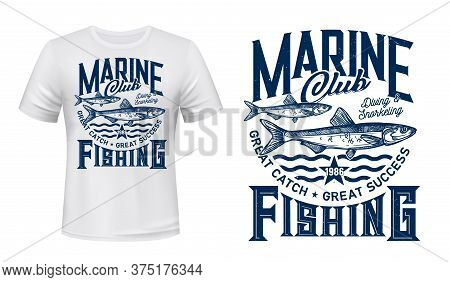 T-shirt Print With Anchovy Fish, Vector Mascot For Fishing Sea Adventure Club. Nautic Sketch Marine