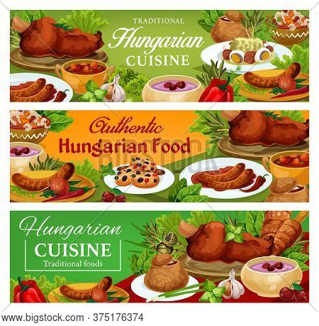 Hungary Cuisine Vector Sausages With Chilli Sauce And Onion, Salad With Egg, Traditional Vegetable S