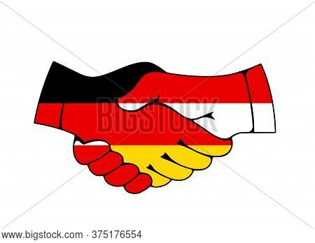 Germany And Poland Business And Partnership Handshake. Trade, Agreement And Friendship Vector Symbol