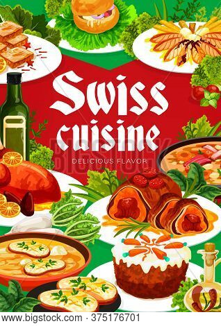 Swiss Cuisine. Restaurant Meat Dishes And Pastry Desserts, Vector. Perch Fillet Of Lehmanenry, Ginge