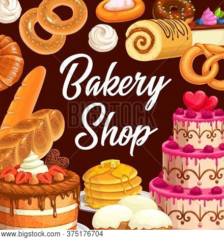 Sweets, Desserts And Pastry Food. Cartoon Vector Bakery Shop Assortment, Sweet Baked Food Strawberry