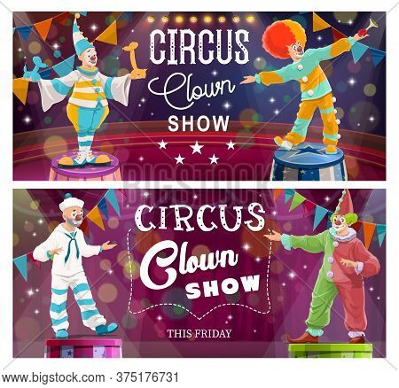 Clowns Comedy Show On Big Top Circus Arena. Clown In Sailor Suit, Harlequin Costume, Circus Performe
