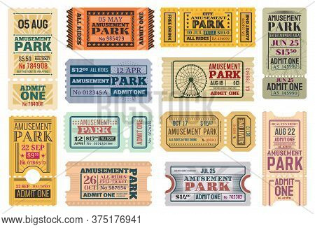 Tickets To Amusement Park, Funfair Carnival Vector Vintage Admit Coupons. Fun Fair Amusement Park Ri