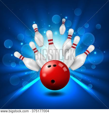 Bowling Alley, Skittles And Ball In Ninepin Strike, Vector Poster Background. Bowling Club Sport And