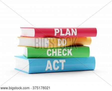 Pdca, Plan - Do - Check - Act,  Scheme On Red, Yellow, Green And Blue Books Over White Background, Q