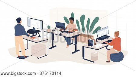 Diverse People Working At Contemporary Workspace Vector Flat Illustration. Man And Woman Employees A