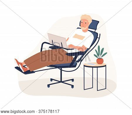 Bearded Male Work At Ergonomic Armchair With Foot Rest Vector Flat Illustration. Man Employee Enjoy