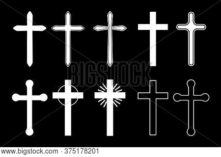 Vector Crosses Drawn In White Paint. Contours Of The Crucifix Of Various Shapes. Christian Symbol. C