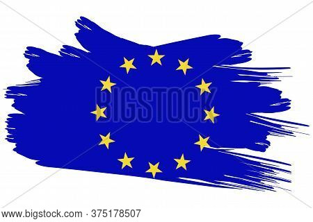 European Union Stars Banner Sign In Grunge Style. Emblem Of The European Flag. Symbol Of The Communi