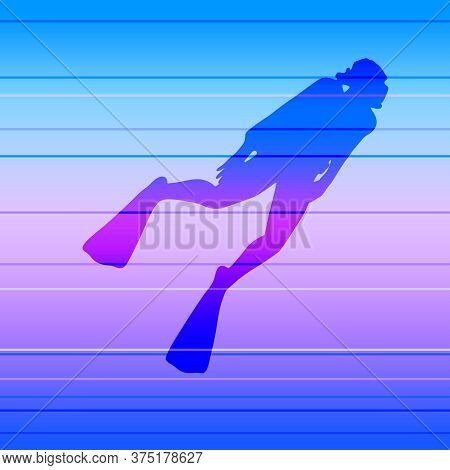 Silhouette Of Diver. Icon Diver. The Concept Of Sport Diving.