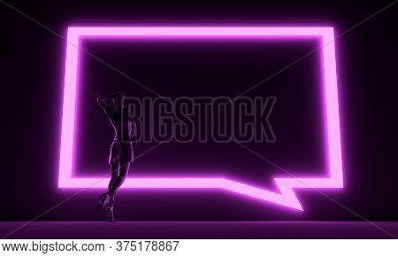 Woman Backlight Silhouette. Neon Shine Bubble Speech. 3d Rendering