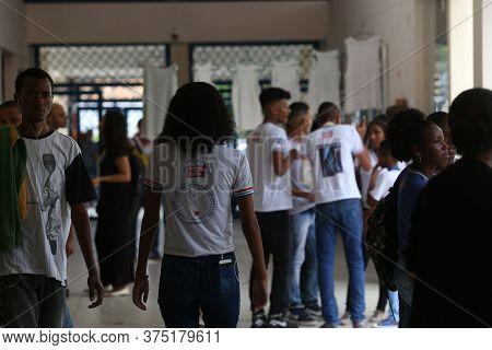 Salvador, Bahia / Brazil - November 8, 2018: Student Of Public School In The Bairro Da Paz In Salvad