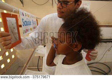 Salvador, Bahia / Brazil - November 8, 2018:  Student Of Public School In The Bairro Da Paz In Salva
