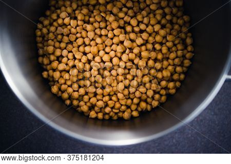 Simple Food Ingredients, Pot Of Fresh Chickpeas From Top Down Perspective