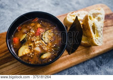 Plant-based Food, Vegan Turkish Hot Pot With Mediterranean Vegetables And Turkish Bread