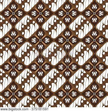 Modern Motifs On Batik Jogja Design With Simple White Brown Color