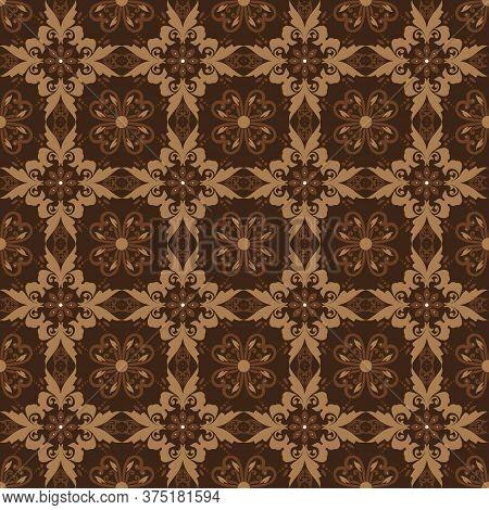Beautiful Flower Motifs On Kawung Batik Design With Dark Brown Color