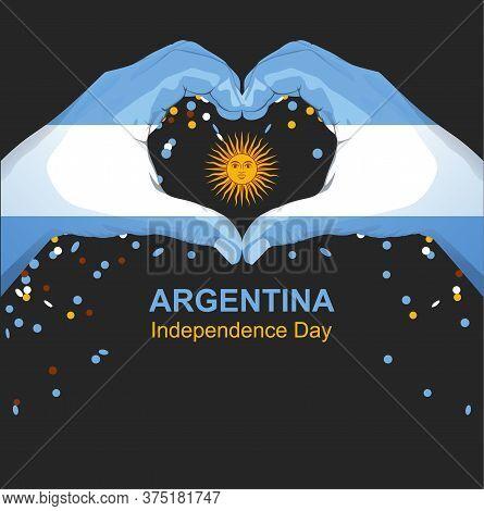 Argentina Independence Day Greeting Card. Hands Palm Argentina Flag Hold Sun. Vector Cartoon Illustr