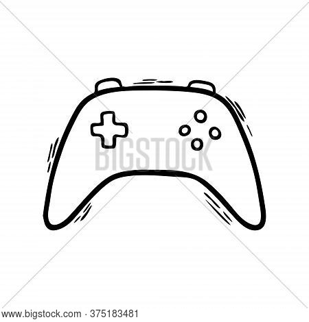 A Doodle-style Gaming Joystick Isolated On A White Background. Game Console Icon. Sticker Or Poster