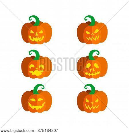 Set Of Carved Pumpkins For Halloween. Vector Illustration In White Background