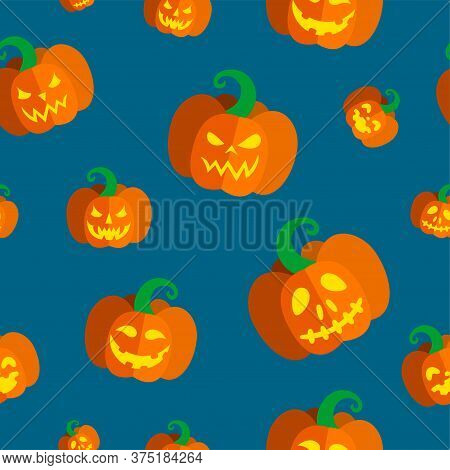 Seamless Pattern With Carved Pumpkins For Halloween. Vector Illustration In Blue Background