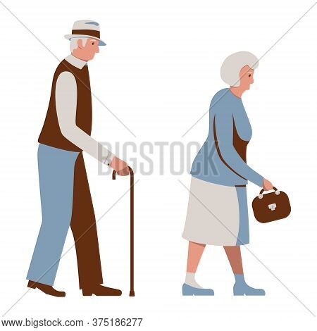 Old People Walking, Elderly Man Walks With A Cane, Aged Woman With A Handbag. Seniors. Gray-haired G