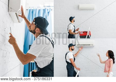 Of Workman Fixing Air Conditioner And Looking At Smiling Woman With Remote Controller