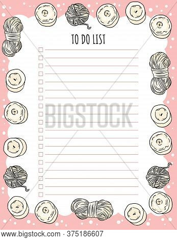 Cozy Boho Weekly Planner And To Do List With Candles And Yarn Ornament. Cute Template For Agenda, Pl