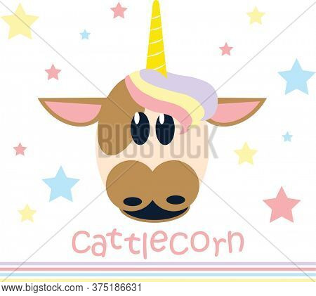 Vector Illustration of a cow with a golden horn.