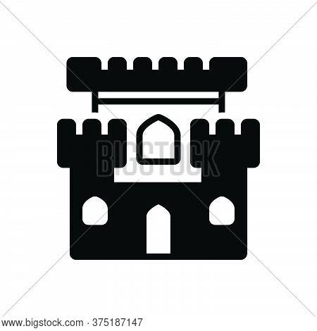 Black Solid Icon For Castle Chateau Mansion Stronghold Citadel Flanker Castle