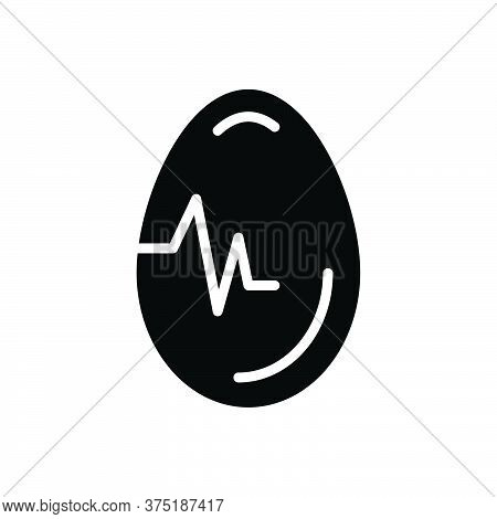 Black Solid Icon For Egg Testicle Oval Food Breakfast Ingredient