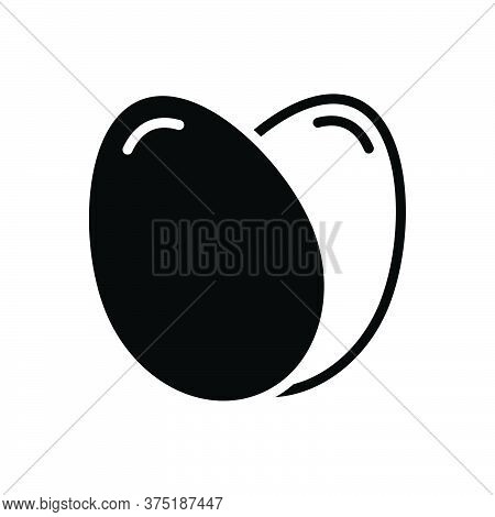 Black Solid Icon For Eggs Testicle Oval Food Breakfast Ingredient Poultry