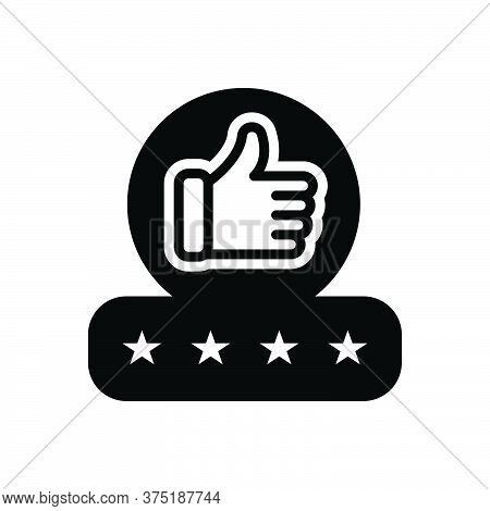 Black Solid Icon For Feedback Experience Testimonial Review Recognition Approval Thumb