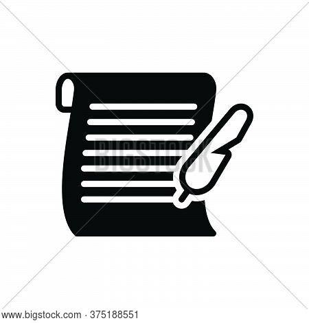 Black Solid Icon For Letter Messages Tidings  Text Scenarios  Script Document Manuscript Certificate