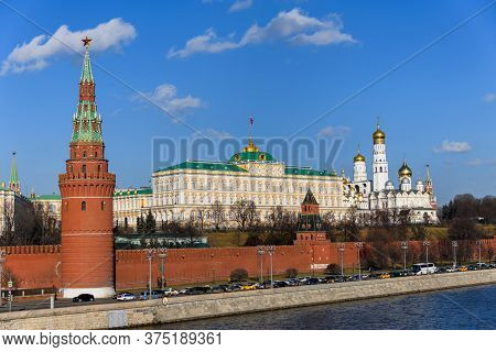 Moscow Kremlin In Winter. Panoramic View Of The Famous Moscow Kremlin. The Kremlin Is The Main Touri