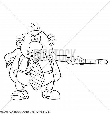 Caricature Of A Man Who Blows A Whistle And Holds In His Hands A Police Rod, Sketch, Isolated Object