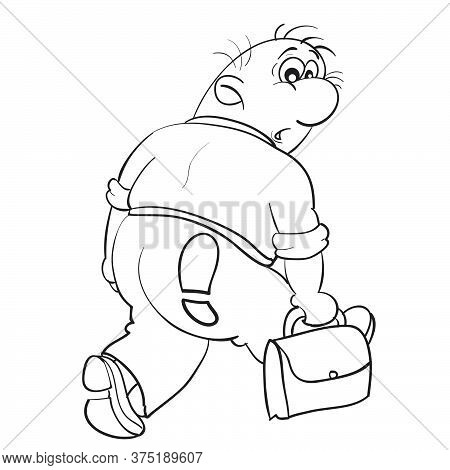 Caricature Of A Man Who Leaves And In His Ass Is A Footprint, Dismissal, Sketch, Isolated Object On