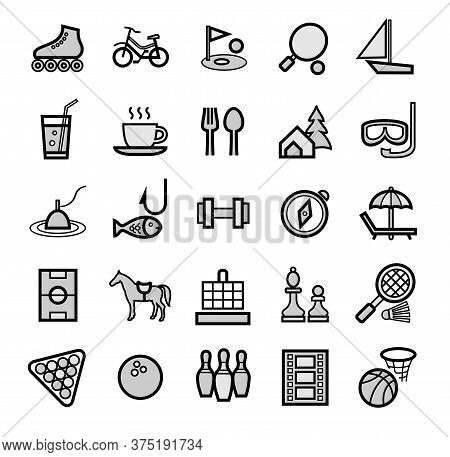 Active Recreation And Leisure, Icons, Set, Gray. Gray Images With A Black Outline. Sports And Intell