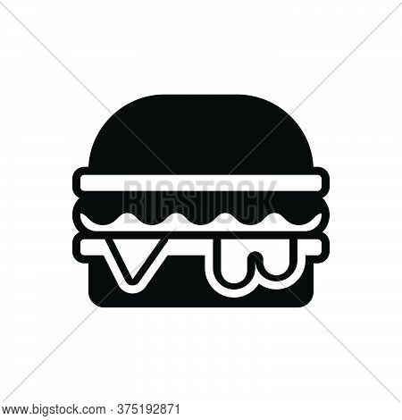 Black Solid Icon For Burger Hamburger Food Snack Delicious Cheese  Junk-food Unhealthy