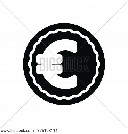 Black Solid Icon For Euro Exchange Currency Payment Pound Wage Finance