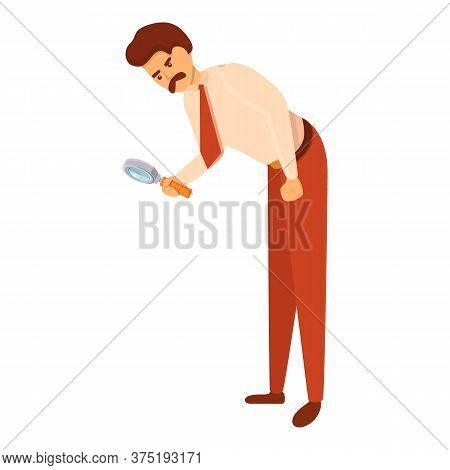 Investigator Look Magnifier Icon. Cartoon Of Investigator Look Magnifier Vector Icon For Web Design