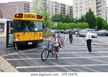 Kids Biking To School