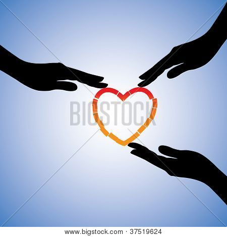 Concept Illustration Of Healing Of Broken Heart. The Graphic Shows Supporting Hands Helping Heart Re