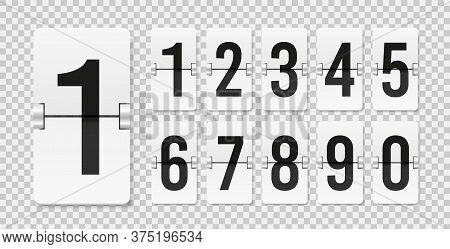 Countdown Scoreboard Numbers. Score Vector Realistic Timetable. Mechanical Retro Airport Flipboard.