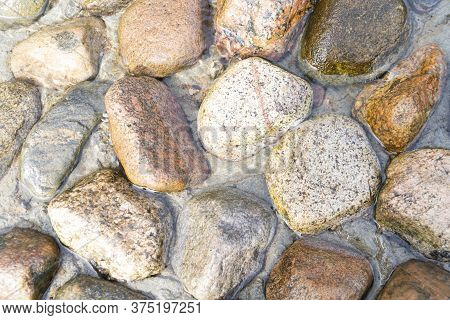 Mountain Stream With Stones. Flowing River With. Spring Running Water Background