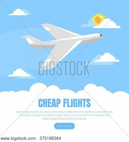 Cheap Flight Landing Page Template, Online Tickets Service Website Interface Vector Illustration