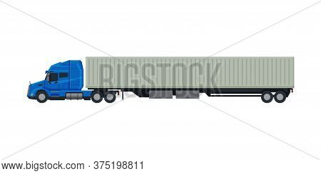 Modern Cargo Trailer Truck, Delivery And Shipping Cargo Vehicle, Side View Flat Vector Illustration