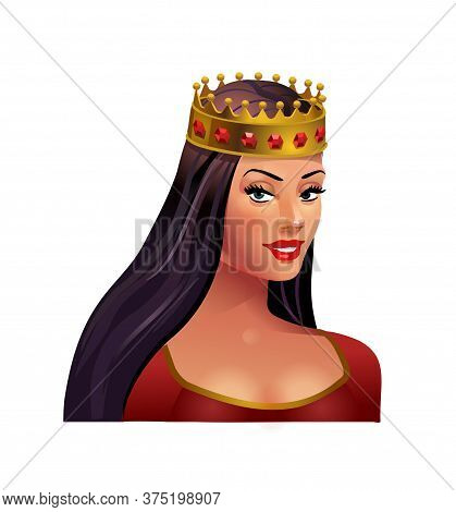 Princess Brunette In A Crown On A White Background. Beautiful Girl. Middle Ages. Vector Isolated Ill