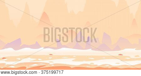 Martian Landscape With Danger Sharp Rocks Game Background Tillable Horizontally, Fantastic Purple Ro